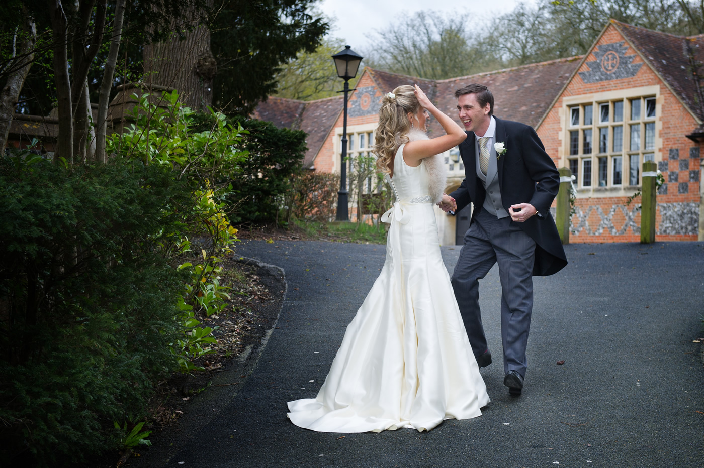 Bride Meets Happy Groom At Bradfield College Berkshire Wedding - Hair & Makeup by Anabela of Maidenhead