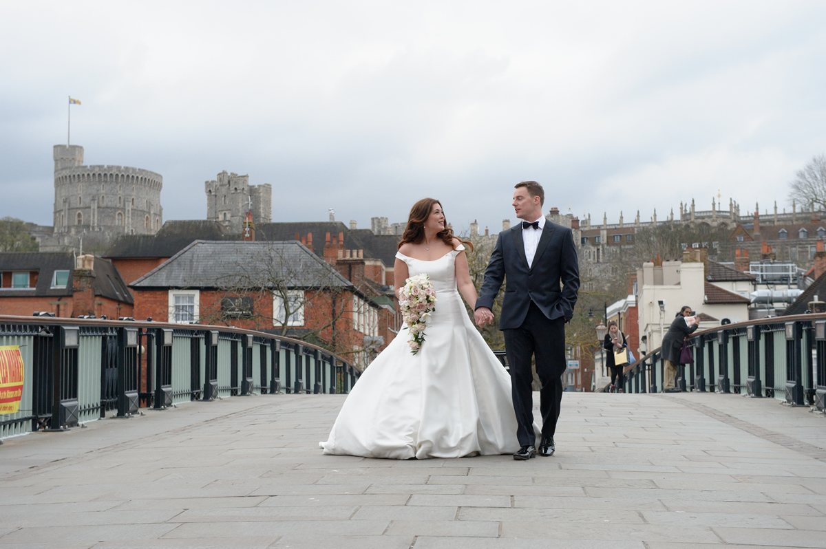 Wedding Photo On Bridge Over River Thames at Windsor Berkshire With View Of Castle - Bridal Hair & Makeup by Anabela