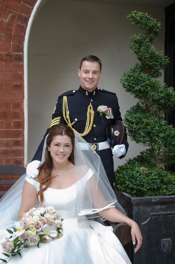 Bride & Groom in Soldier's Uniform - Reception at Sir Christopher Wren Hotel Windsor in Berkshire - Wedding Hair & Make-up by Anabela of Maidenhead