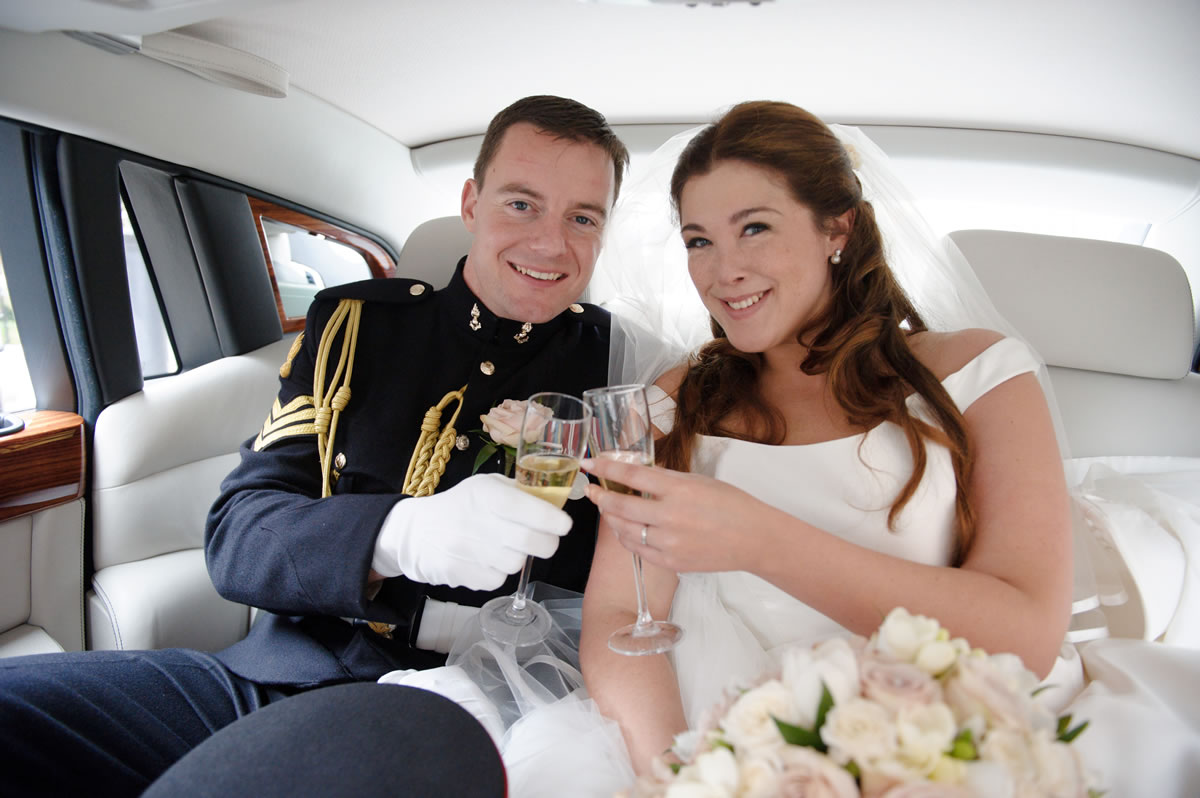 Bride & Groom In Wedding Car at Windsor Berkshire - Bridal Hair & Makeup by Anabela