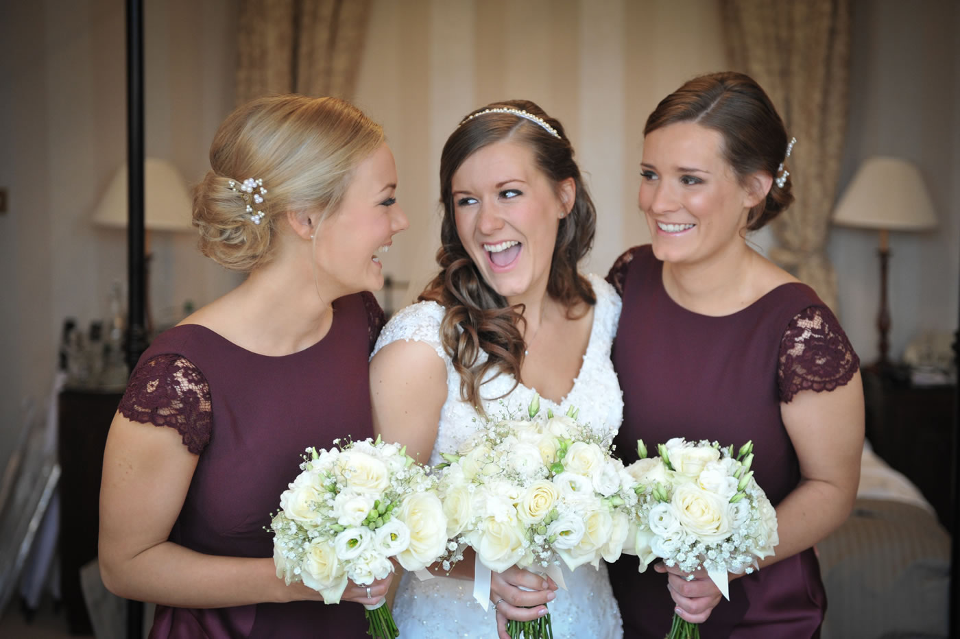 Bride & Bridemaids In Taplow House Hotel Room - Bridal Hair & Makeup By Anabela of Maidenhead, Berkshire