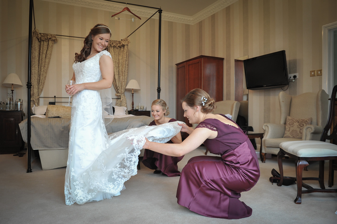 Taplow House Hotel, Maidenhead, Berkshire Wedding - Bride & Bridemaids In Room - Bridal Hair & Makeup