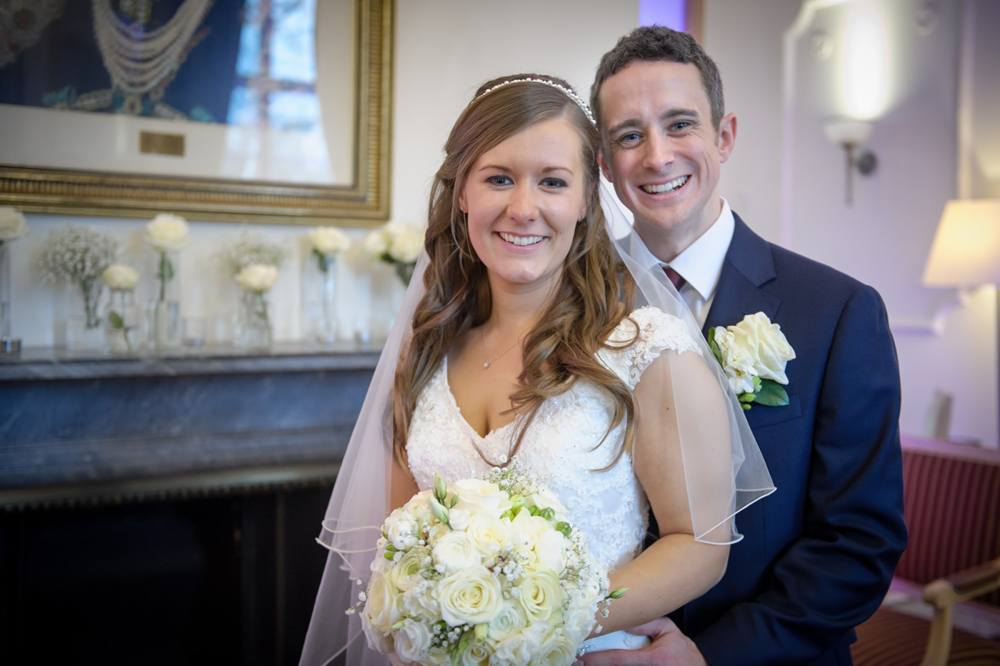 Bride & Groom at Taplow House Hotel Reception, Maidenhead, Berkshire - Hair & Make-up by Anabela