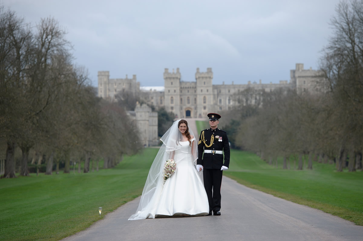 Bride & Groom Wedding Photograph At Windsor Castle Berkshire